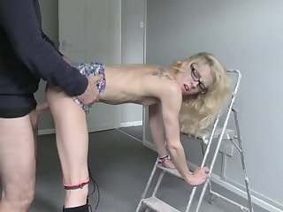 Petite babe bends ass for step daddy