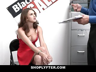 Small Tits Teen Caught Stealing Sucks Off Security
