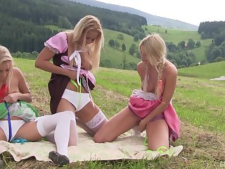 Outdoor lesbian threesome with teen babes Cayla Lyons and her girls