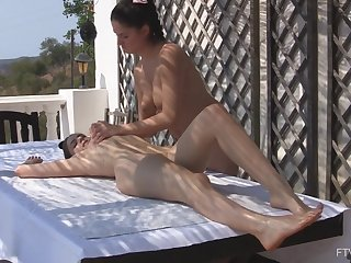 Lesbian massage leads girls to insane masturbation