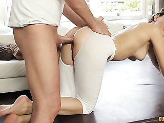 Elastic and sexy white girl on the yoga ball rimmed and fucked