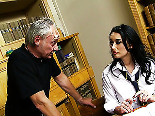 Spoiled busty coed chick in high heels gets punished by her two tutors