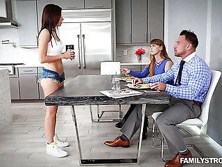As soon as MILF leaves the room naughty Shavelle Love lures stud for sex