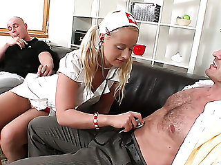 Highly voracious Czech blonde whore Rachel LaRouge can work on three dicks at once