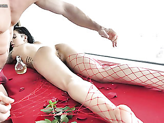 Svelte Canadian chick in red fishnet stockings Marley Brinx enjoys doggy