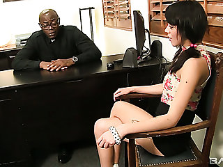 Gamine naughty gal Binky Bangs lures black priest to ride his fat BBC