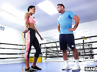 Sporty gal Amethyst Banks has no problem having sex with her boxing coach